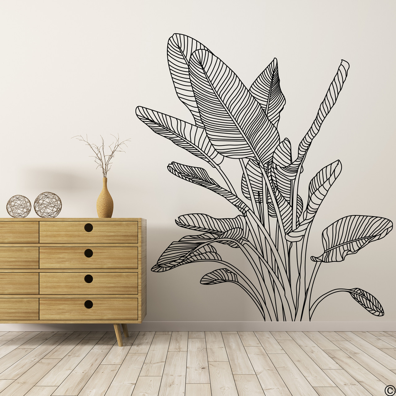 The Bird of Paradise wall decal art shown here in black vinyl color.