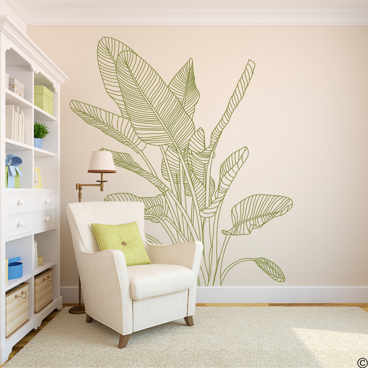 The Bird of Paradise wall decal art shown here in limited edition marsh green vinyl color.