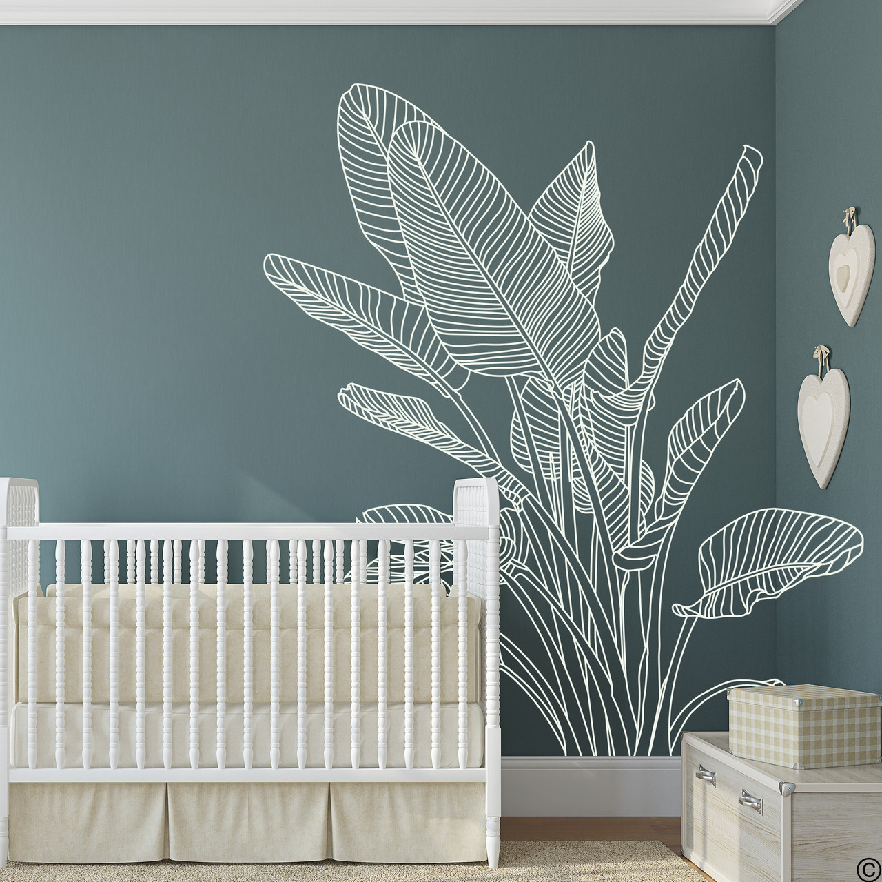 The Bird of Paradise wall decal art shown here in limited edition antique lace vinyl color.