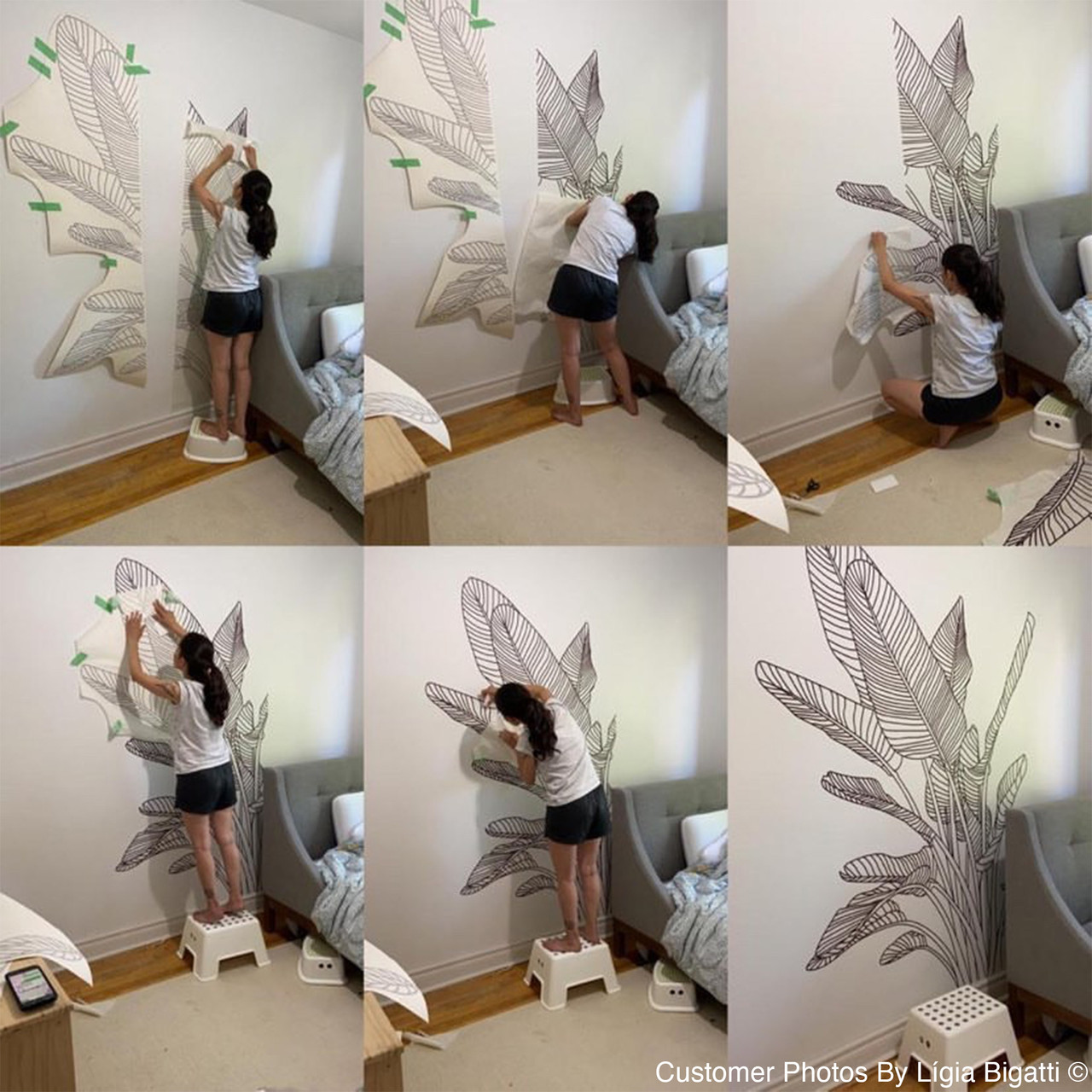 Customer photo series of the Bird of Paradise wall decal in brown color, being DIY installed in their home.