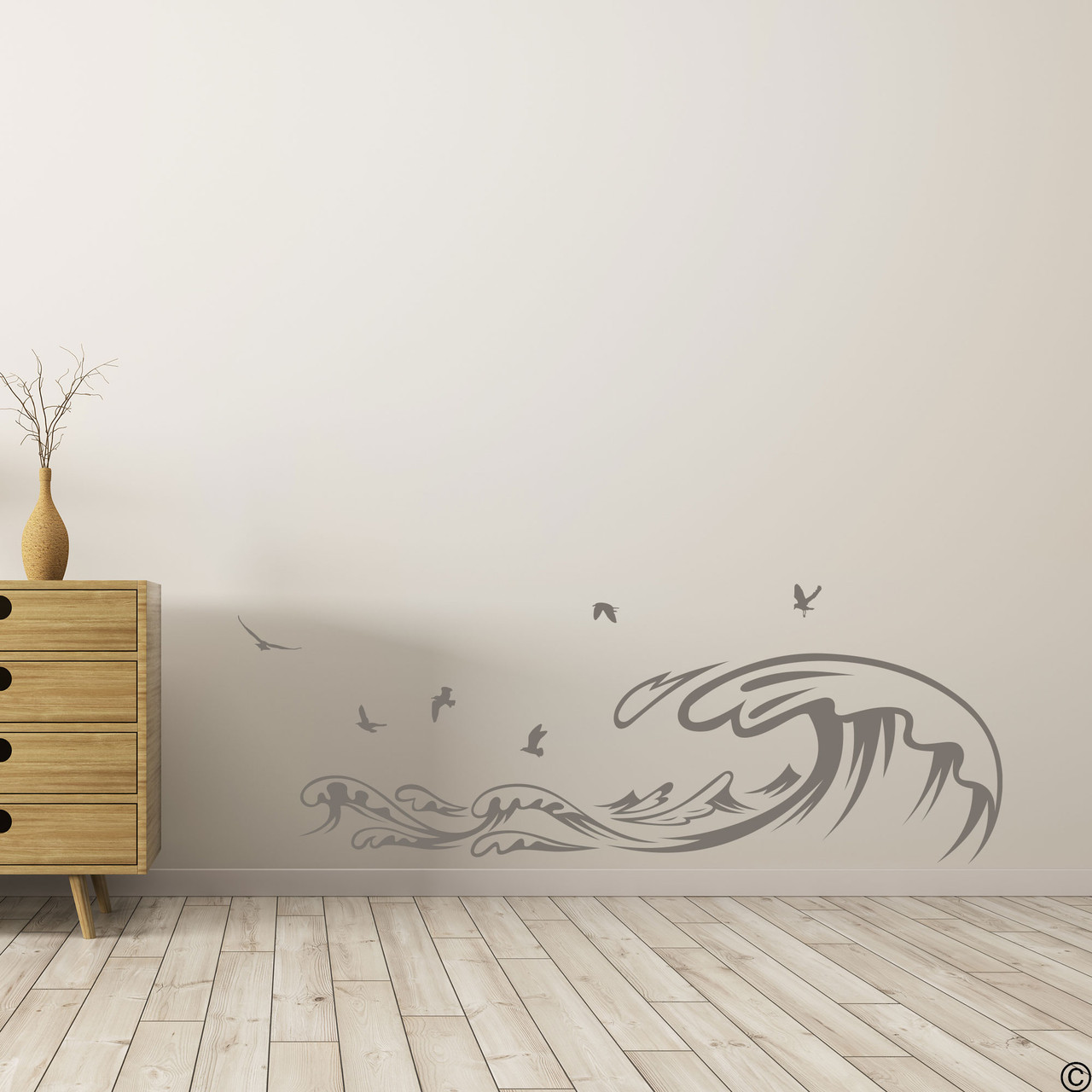 The Waves and Seagulls wall decal shown here in the limited edition castle grey vinyl color.
