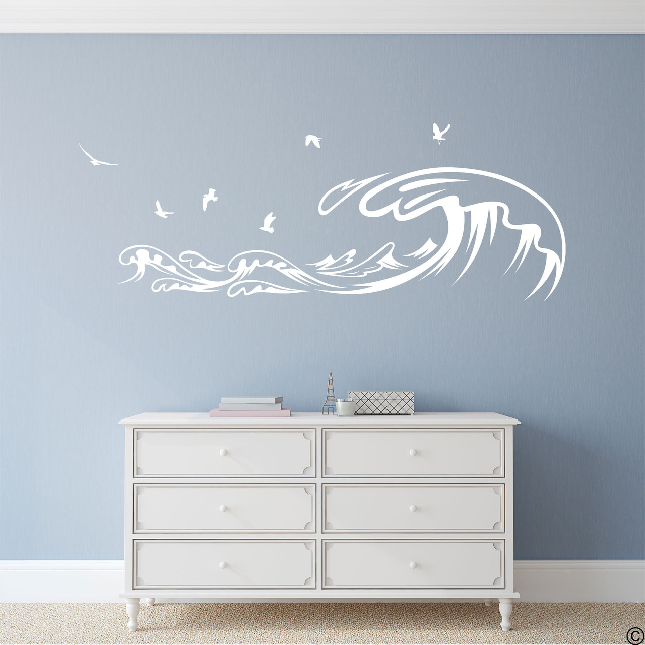 The Waves and Seagulls wall decal shown here in the white vinyl color.