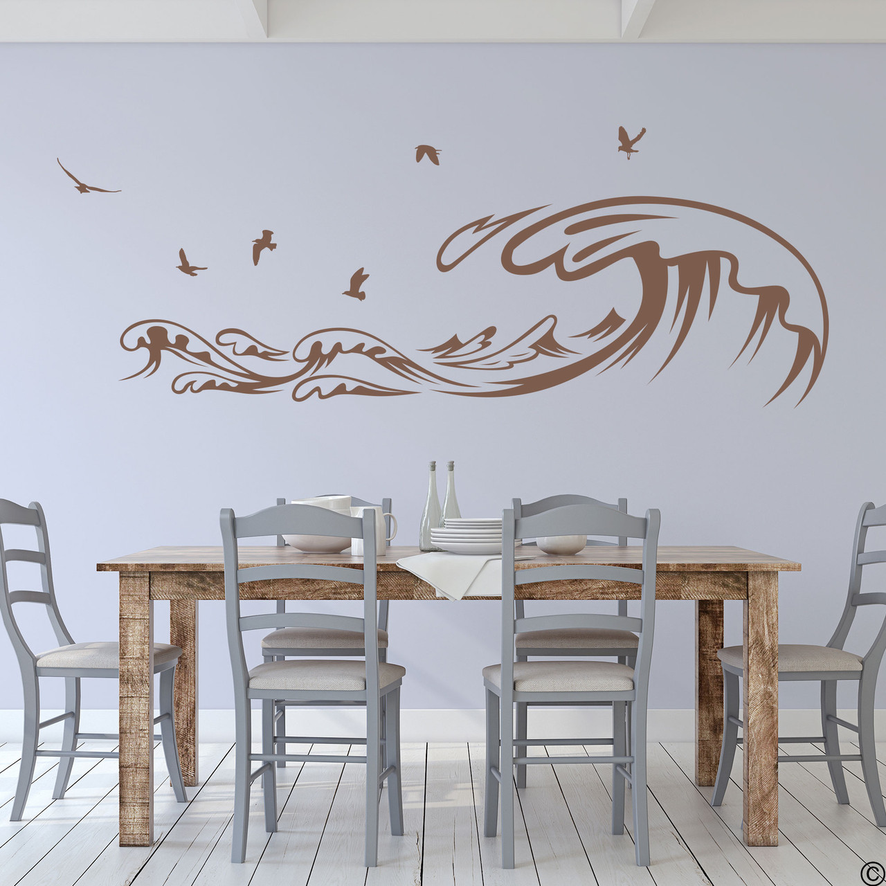 The Waves and Seagulls wall decal shown here in the limited edition espresso vinyl color.