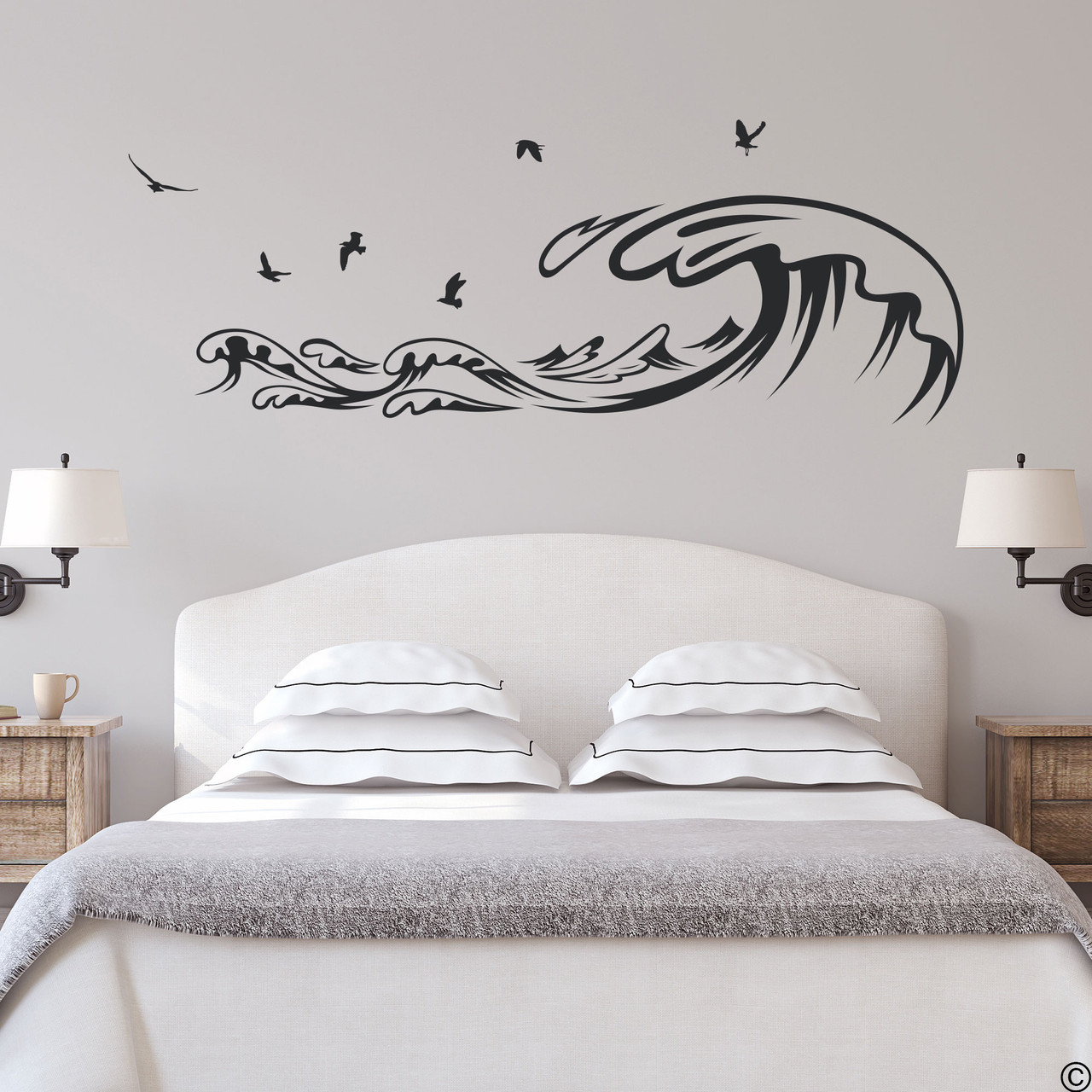 The Waves and Seagulls wall decal shown here in the black vinyl color.