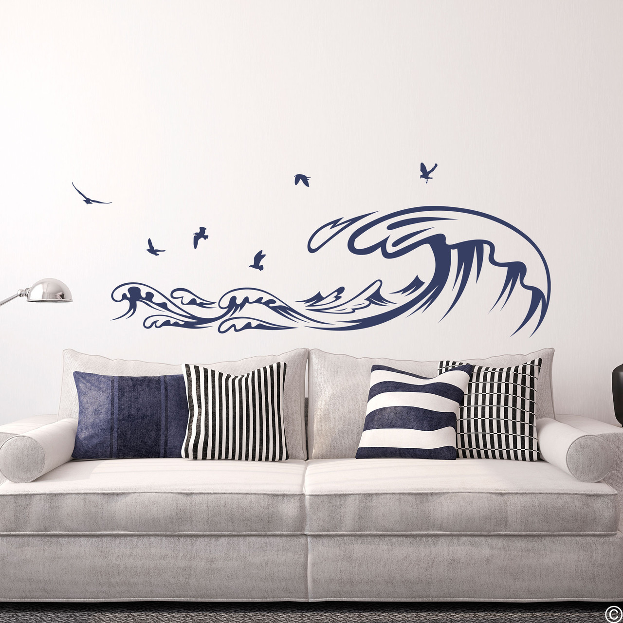The Waves and Seagulls wall decal shown here in the dark blue vinyl color.