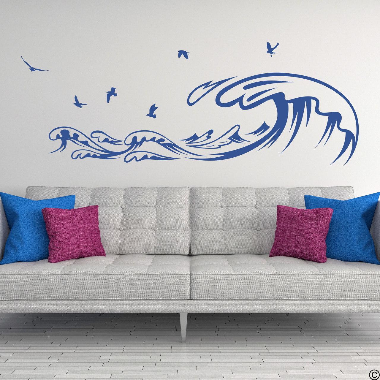The Waves and Seagulls wall decal shown here in the limited edition denim vinyl color.