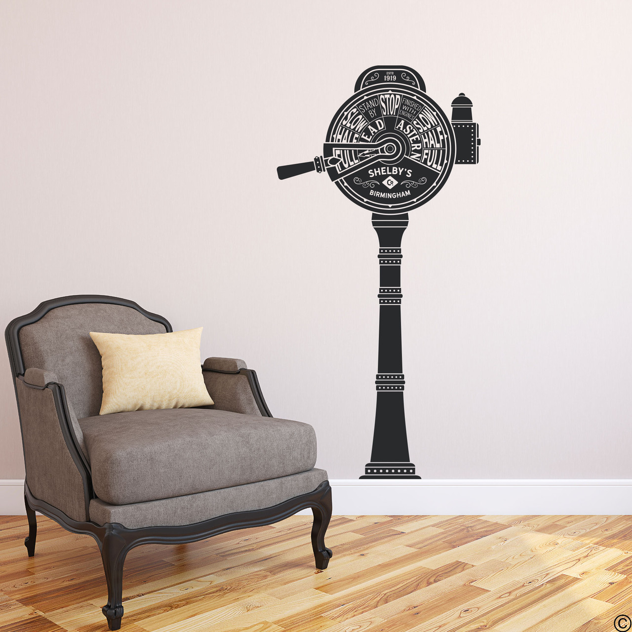 The ship telegraph wall decal shown here in black vinyl color.