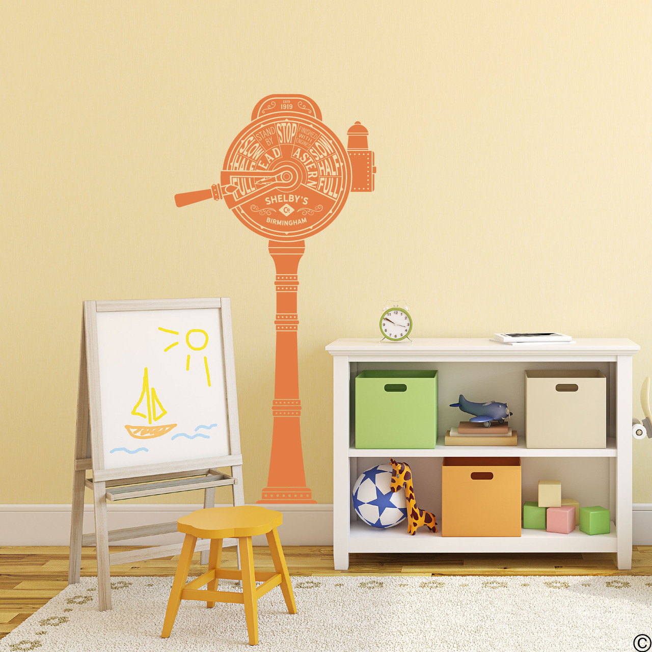 The ship telegraph wall decal shown here in persimmon vinyl color.