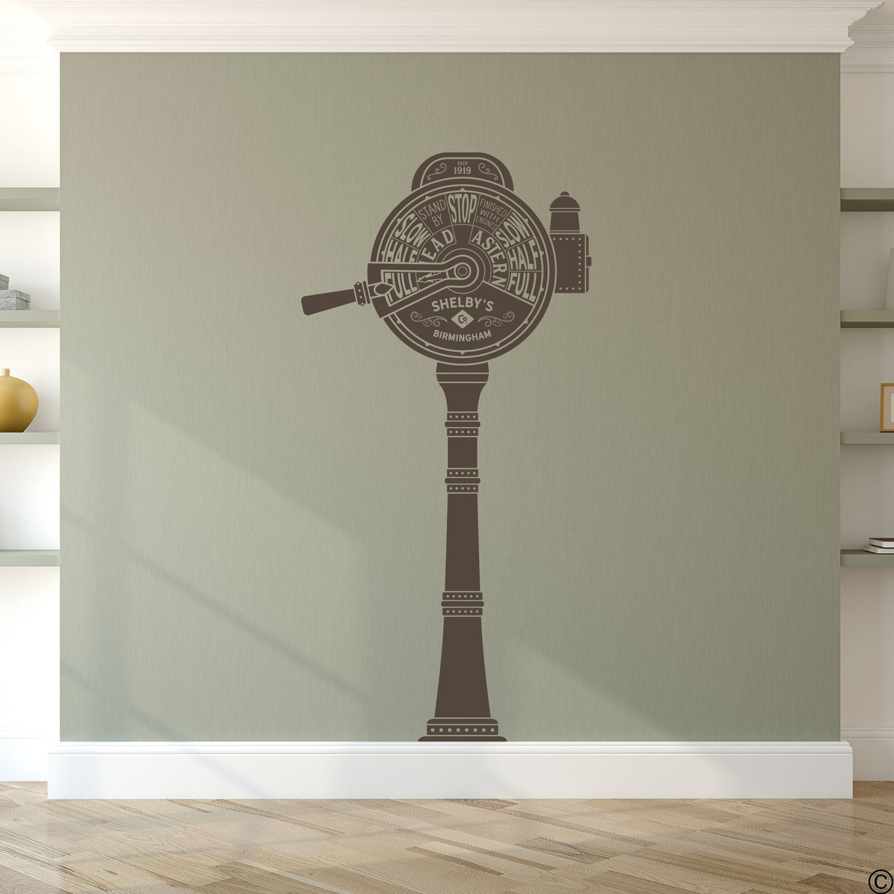 The ship telegraph wall decal shown here in brown vinyl color.
