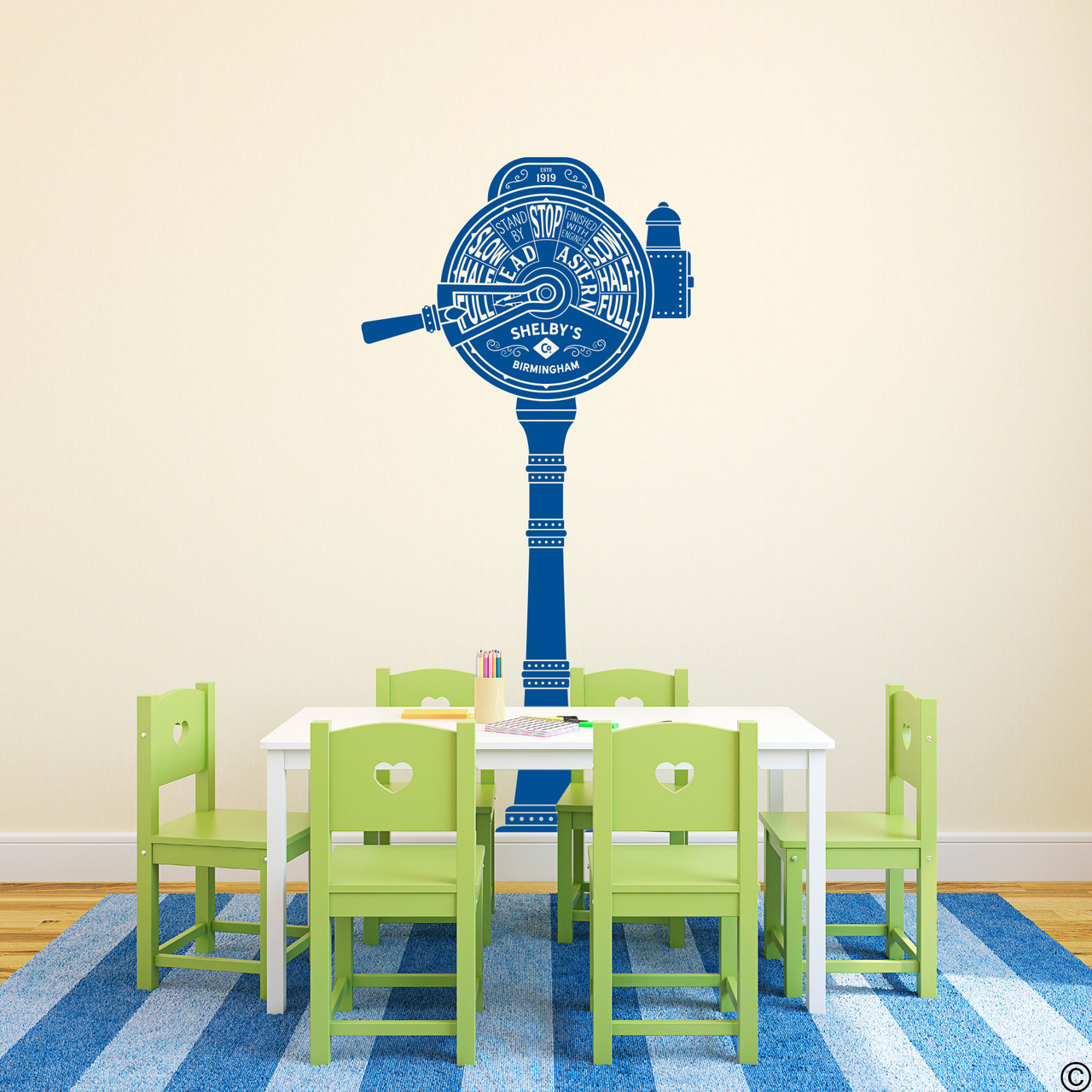 The ship telegraph wall decal shown here in traffic blue vinyl color.