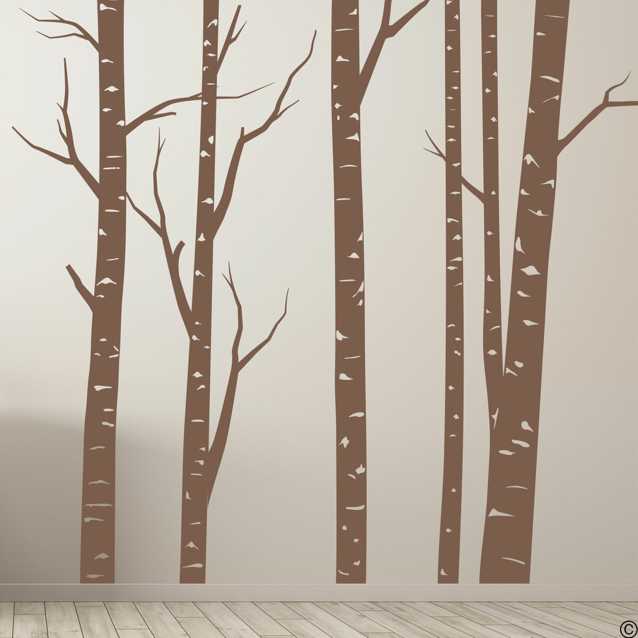 Aspen forest wall decal mural in limited edition espresso vinyl color.