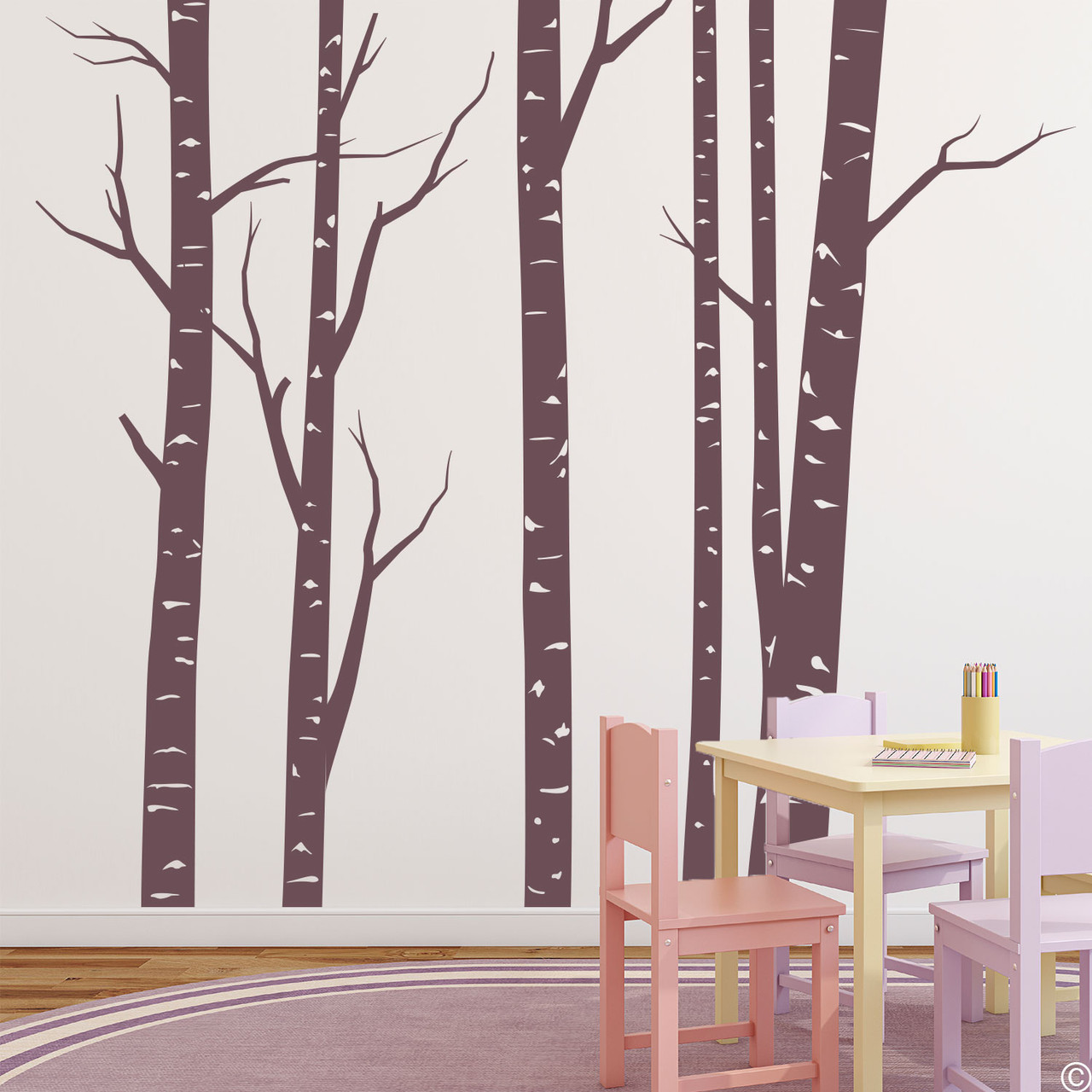 Aspen forest wall decal mural in limited edition eggplant vinyl color.