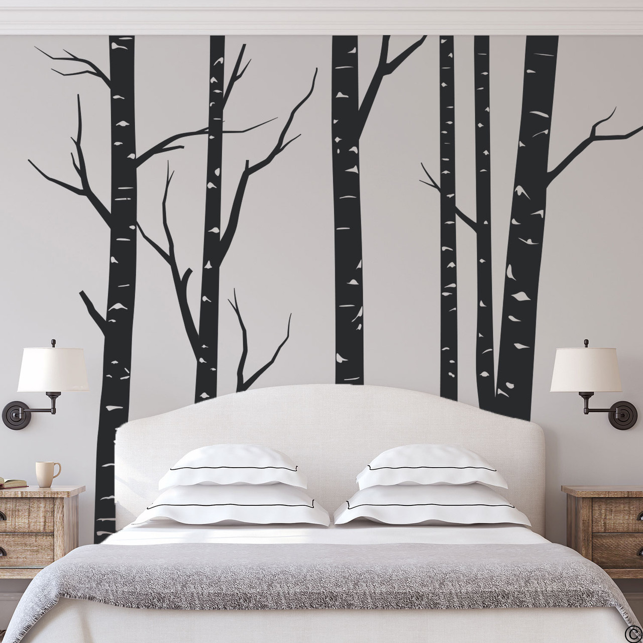 Aspen forest wall decal mural in black vinyl color.