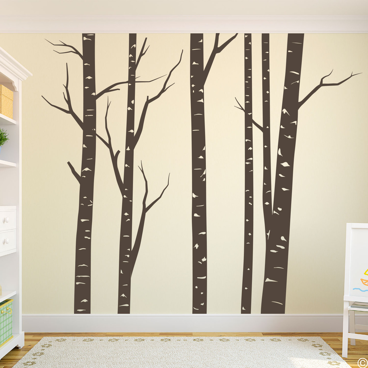 Aspen forest wall decal mural in brown vinyl color.