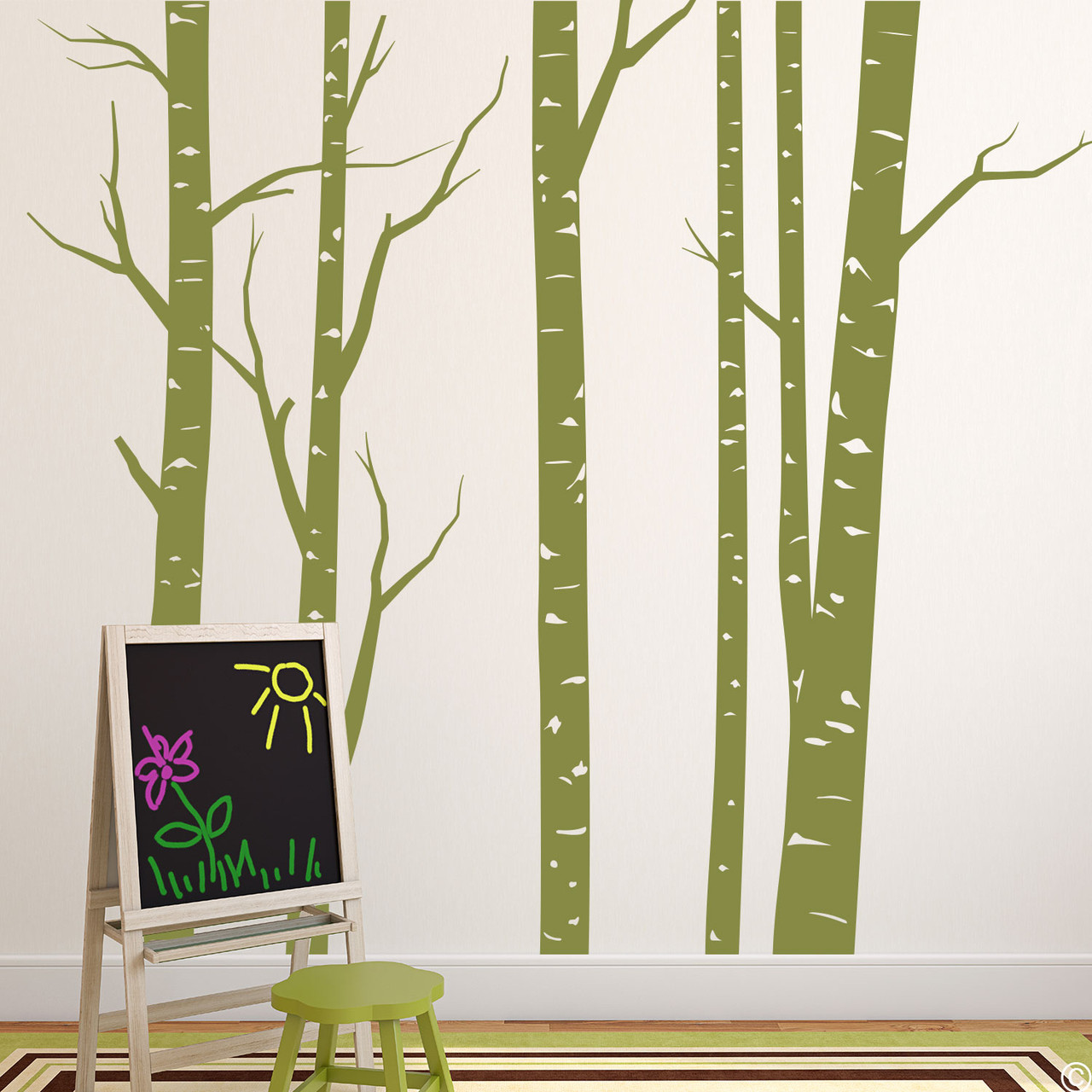 Aspen forest wall decal mural in limited edition marsh green vinyl color.
