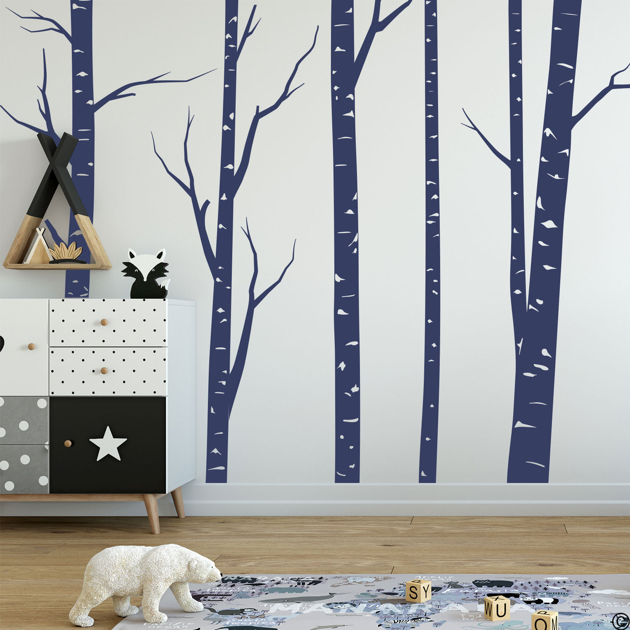 Aspen forest wall decal mural in dark blue vinyl color.