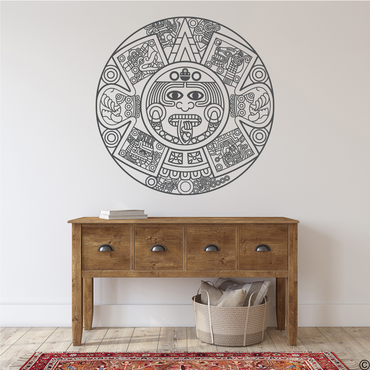 The Aztec Calendar wall decal in black vinyl color.