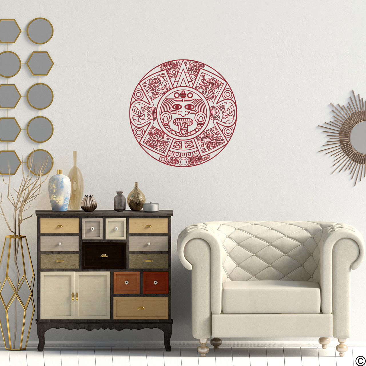 The Aztec Calendar wall decal in dark red vinyl color.
