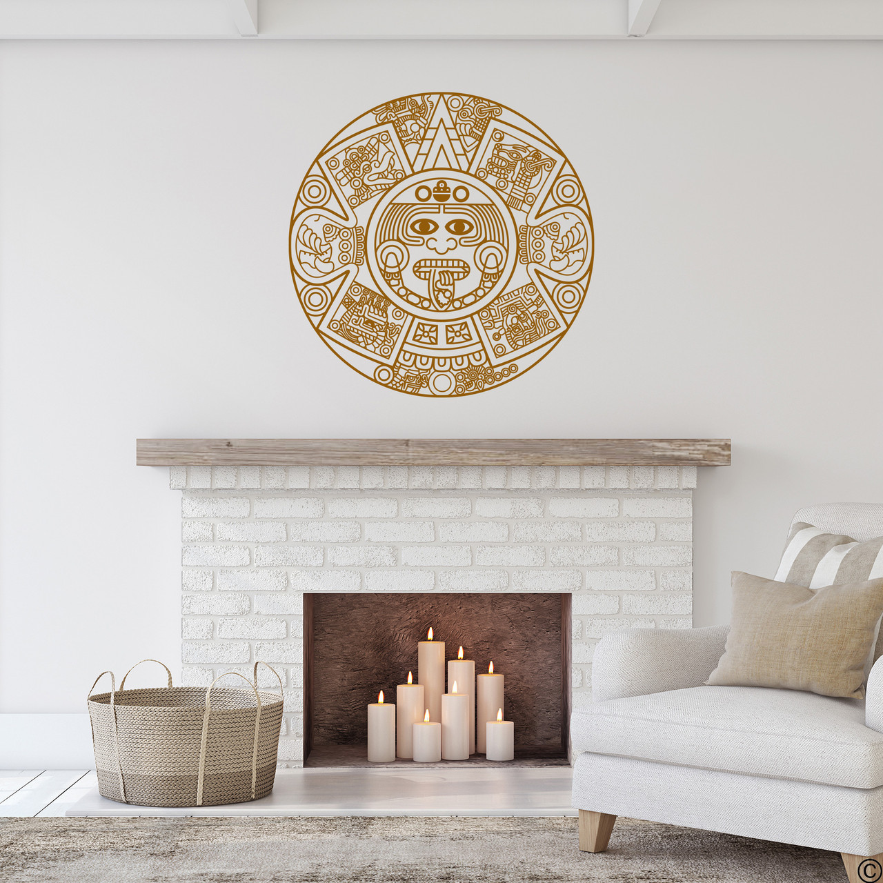 The Aztec Calendar wall decal in clay brown vinyl color.