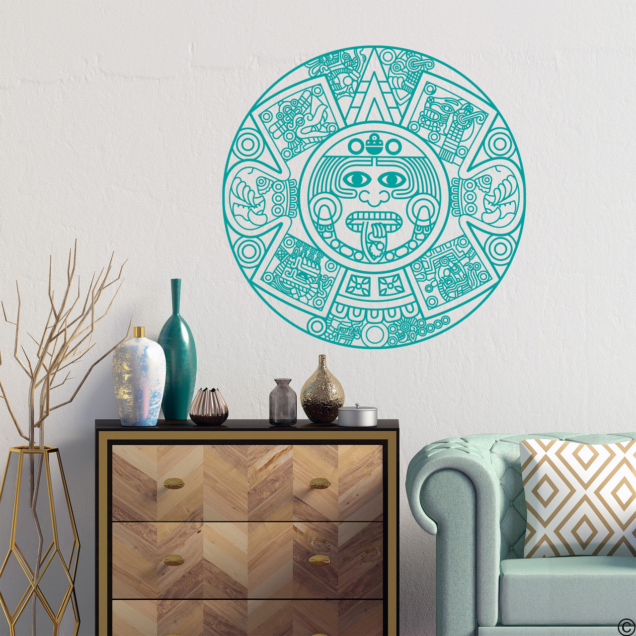 The Aztec Calendar wall decal in turquoise vinyl color.