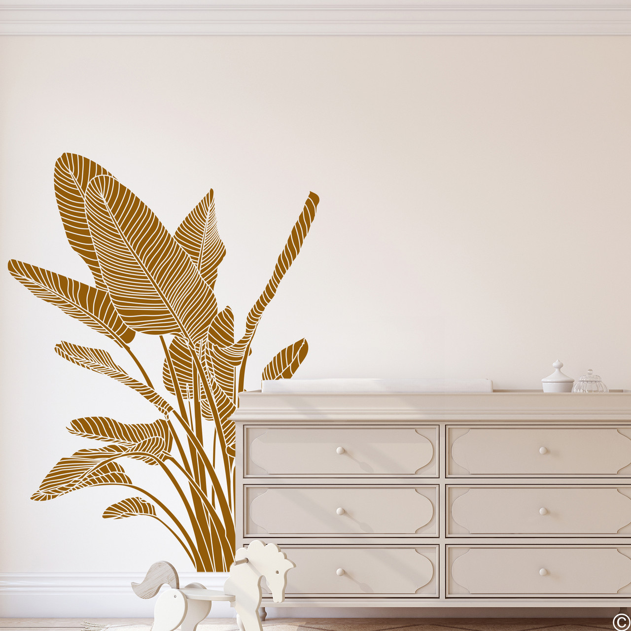 The Bird of Paradise wall decal art shown here in clay brown vinyl color.