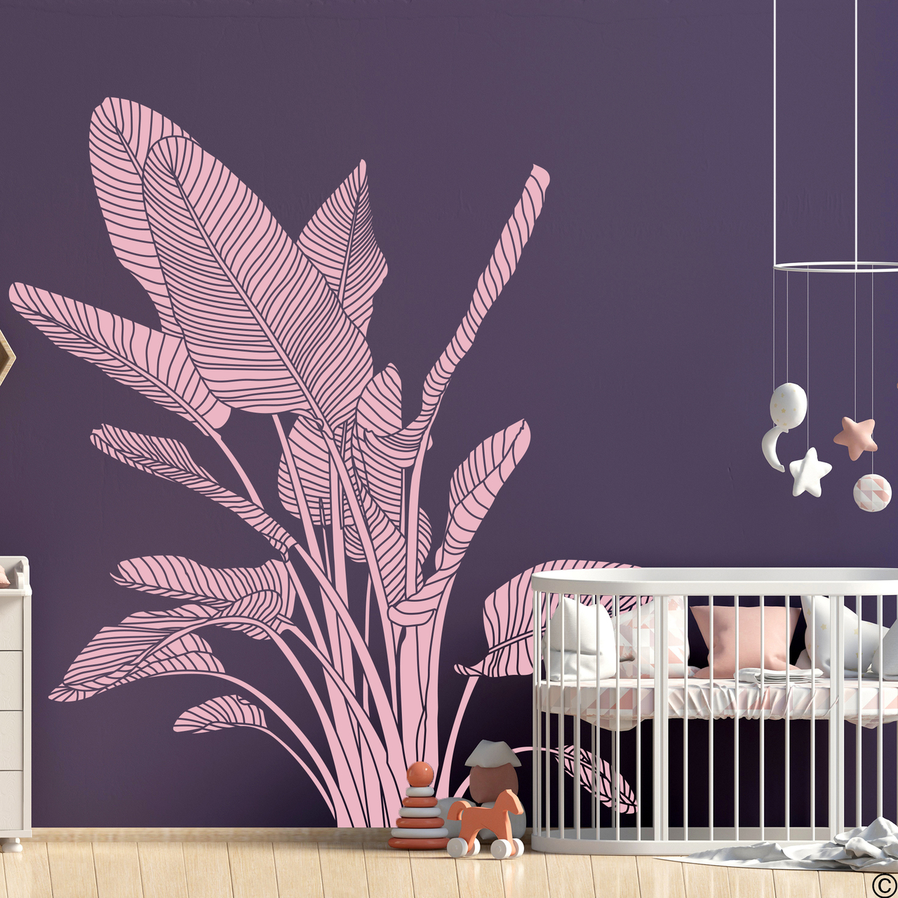 The Bird of Paradise wall decal art shown here in carnation pink vinyl color.