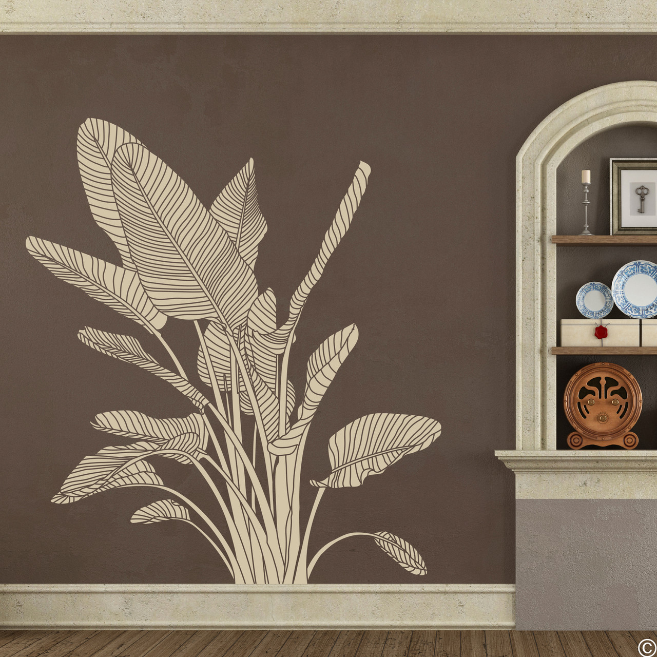 The Bird of Paradise wall decal art shown here in beige vinyl color.