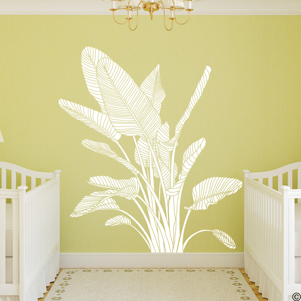The Bird of Paradise wall decal art shown here in white vinyl color.