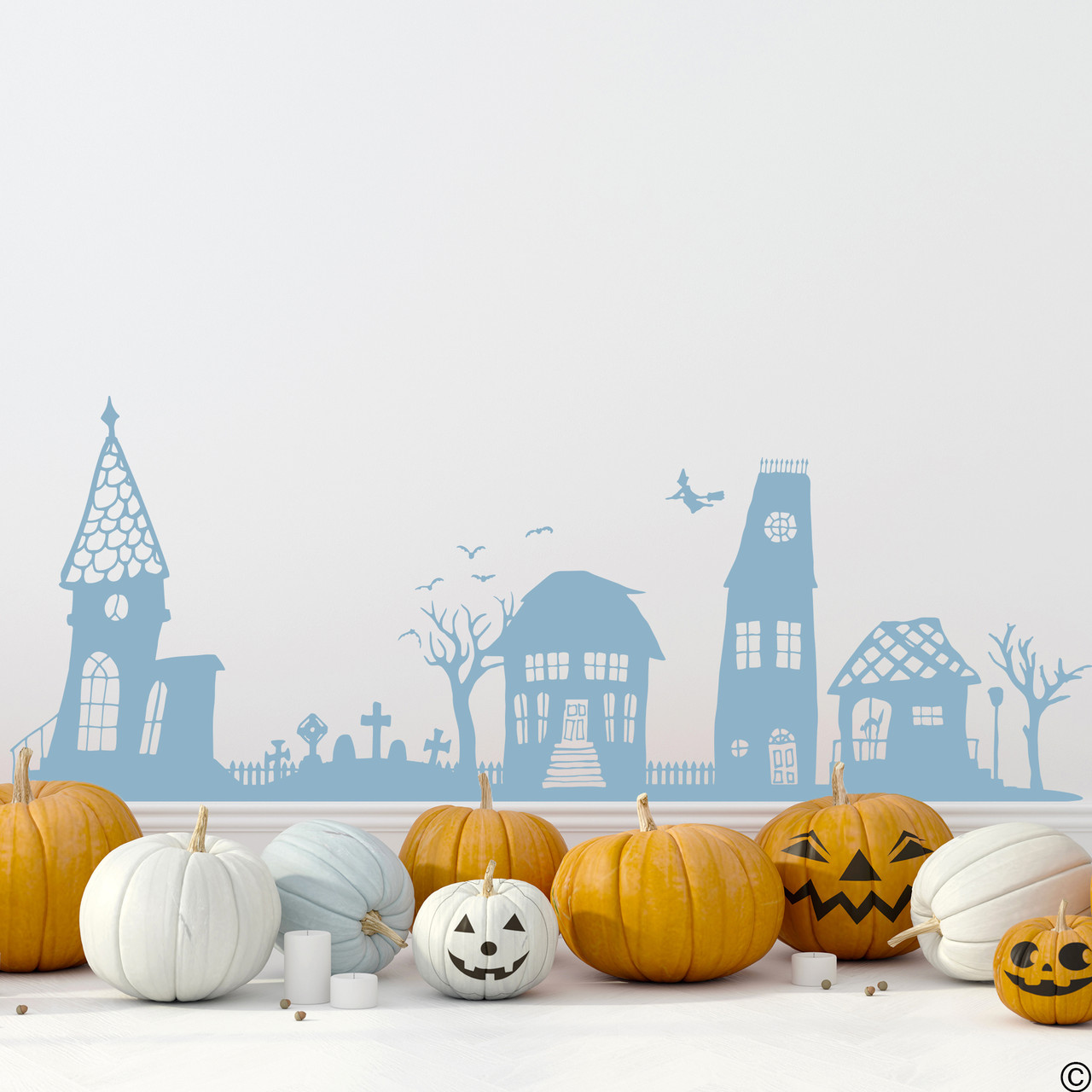 The Halloween houses wall decal in limited edition misty blue vinyl color.