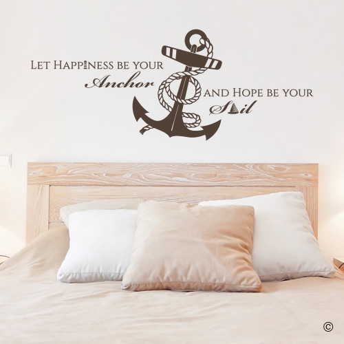 """Let Happiness Be Your Anchor And Hope Be Your Sail"" vinyl decal wall quote in brown."