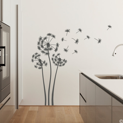 The three Alyssa dandelion wall decals in dark grey