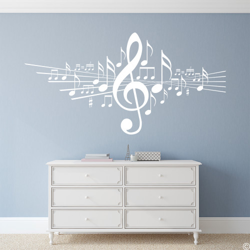 Music Note vinyl wall decal in white