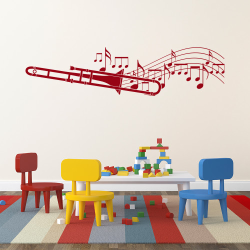 The trombone player with music notes wall decal in dark red