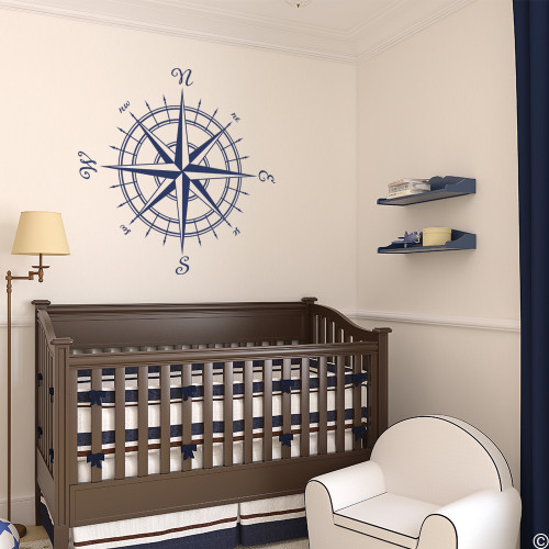 The Erasmus compass rose vinyl wall or ceiling decal in dark blue