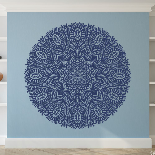 The Aarav mandala vinyl wall decal in dark blue