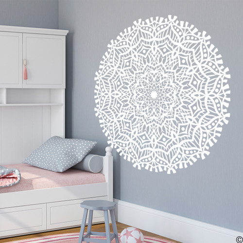 The Chloe mandala vinyl wall decal in white