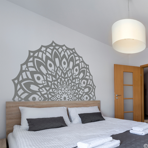 The Sammy mandala vinyl wall decal in storm grey