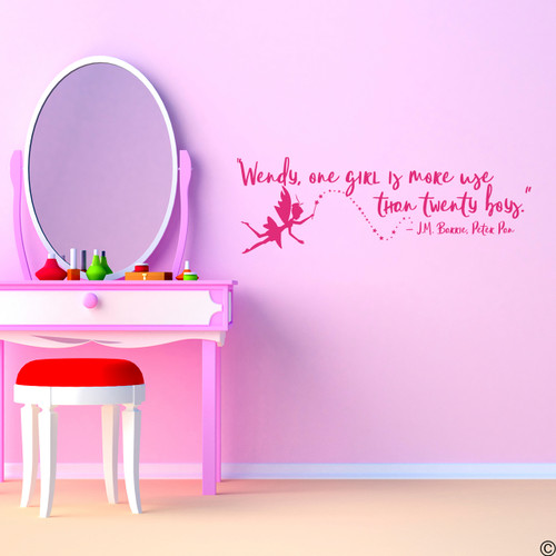 """""""Wendy, one girl is more use than twenty boys."""" — J.M Barrie, Peter Pan vinyl wall decal quote in lipstick"""