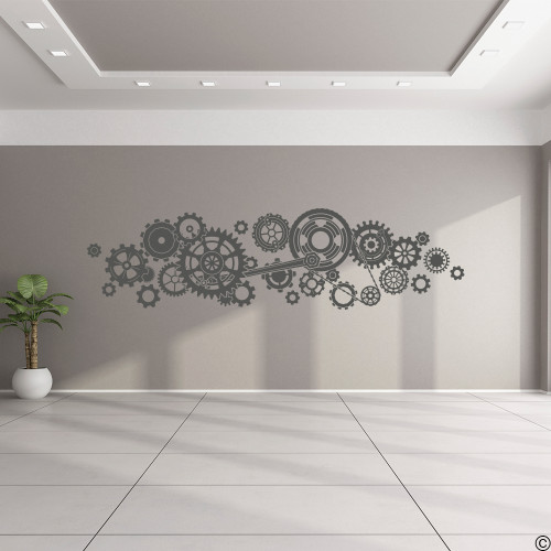 Steampunk Gears Wall Decal on a light grey wall in dark grey vinyl