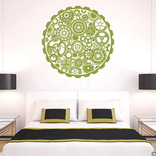 Steampunk Circle Gear Vinyl Wall Decal in olive