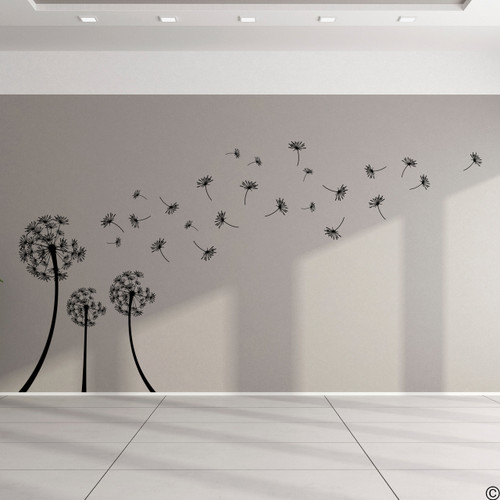 The Grande Dandelion vinyl wall decal in black