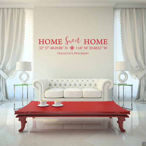 Home Sweet Home vinyl wall decal with customizable coordinates, town and state name in dahlia red