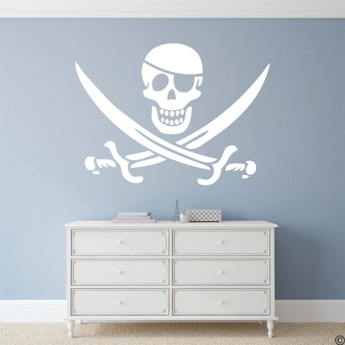 Eye patch jolly roger pirate vinyl wall decal in white