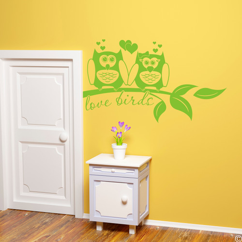 Love birds, owls on a branch vinyl wall decal quote in lime-tree green