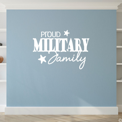 Proud Military Family vinyl wall decal quote in white