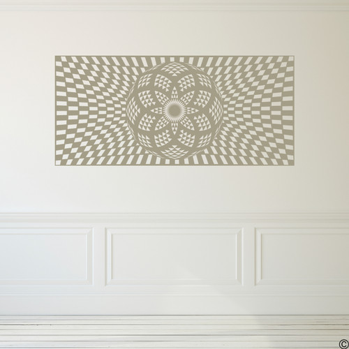 The Checkered Torus Mandala vinyl wall decal in tumbleweed