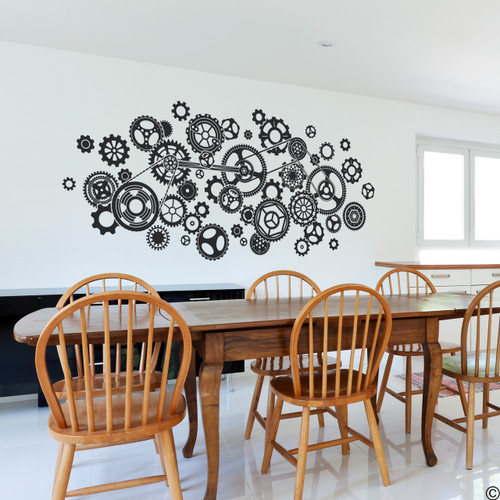 Steampunk Gears Vinyl Wall Decal in black