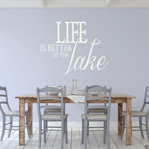 Life is better at the Lake wall decal, on a kitchen wall in the limited edition antique lace vinyl color.
