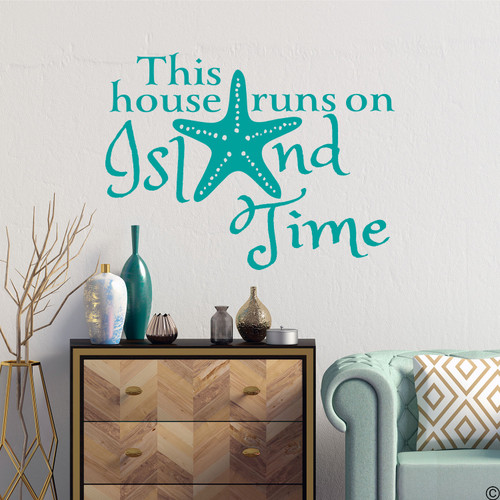 "Starfish wall decal with ""This house runs on Island Time,"" quote. Shown here in turquoise color."
