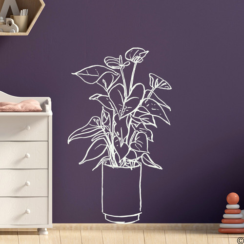 The hand drawn Flamingo Flower plant wall decal in limited edition antique lace vinyl.
